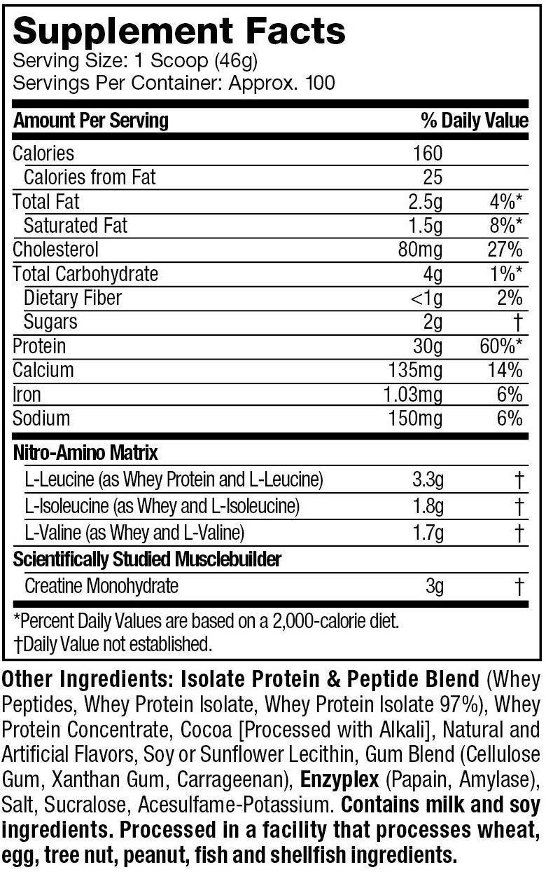 nitro tech chile información nutricional