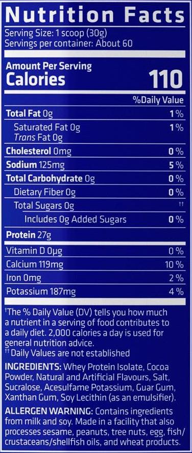 zero carb isopro chocolate 4 libras usn información nutricional