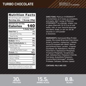 platinum hydro whey optimum nutrition turbo chocolate información nutricional