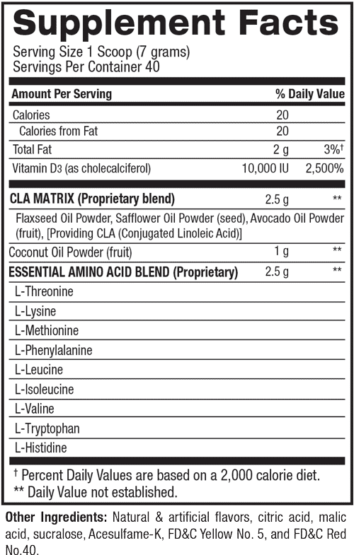 cla plus coconut oil plus aminos tabla nutricional