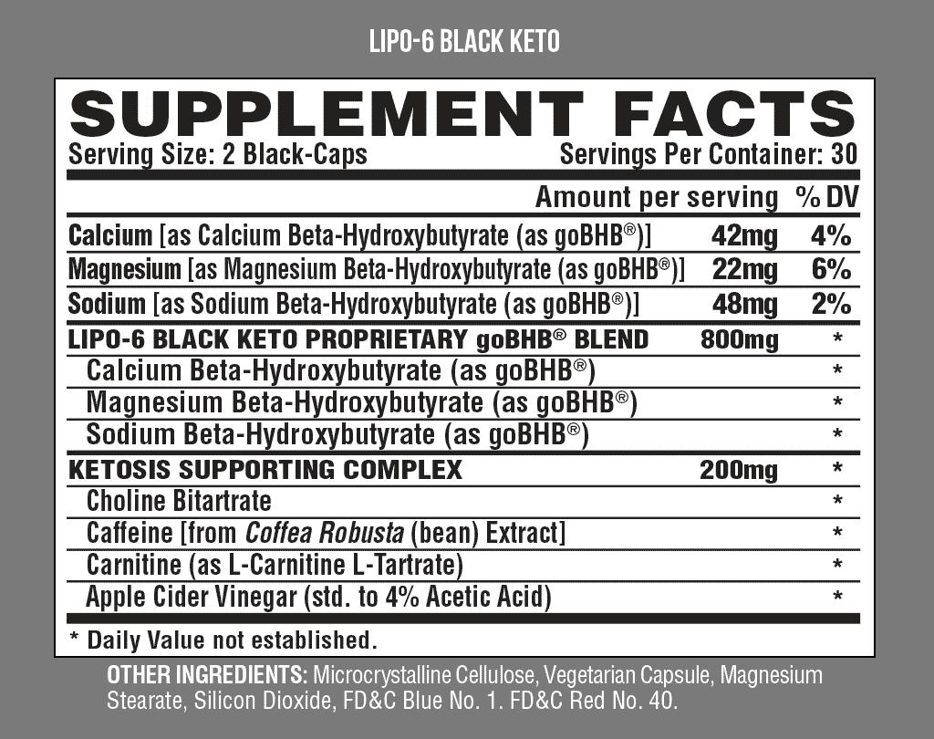 lipo 6 black keto advanced formula informacion nutricional