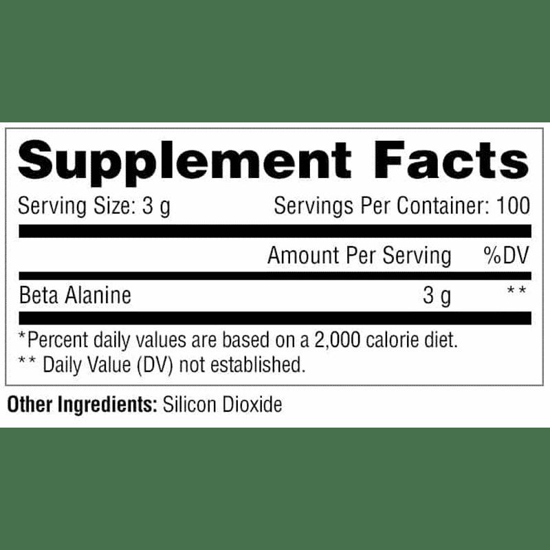 beta-alanina sin sabor 300 gramos metabolic nutrition información nutricional
