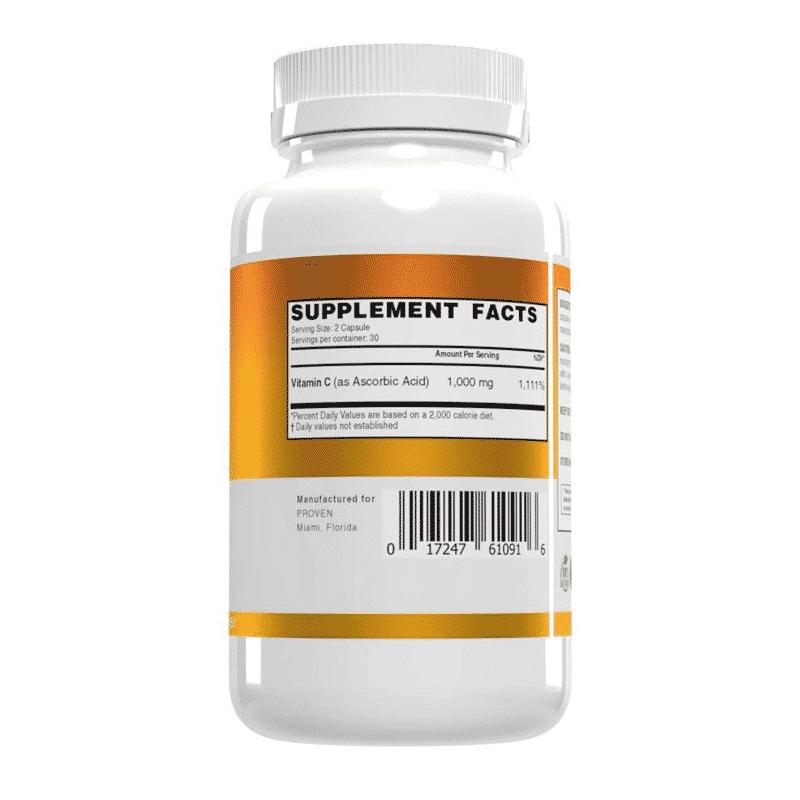 daily vitamin c proven 60 cápsulas información nutricional