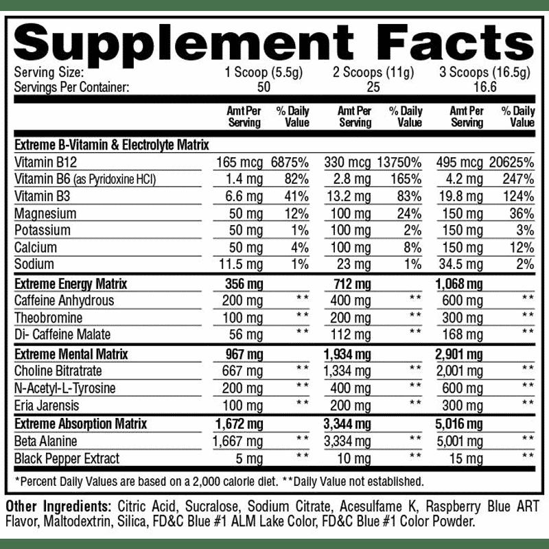 e.s.p. extreme blue raspberry 275 gramos metabolic nutrition información nutricional