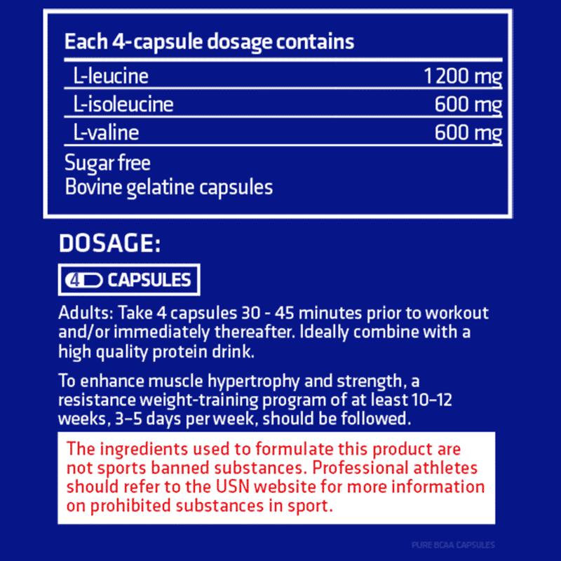 pure bcaa 200 tablets usn información nutricional