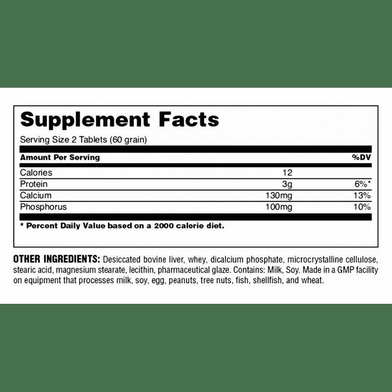 uni-liver 500 tabletas universal-nutrition información nutricional