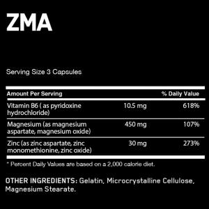 zma 90 capsulas optimum nutrition información nutricional