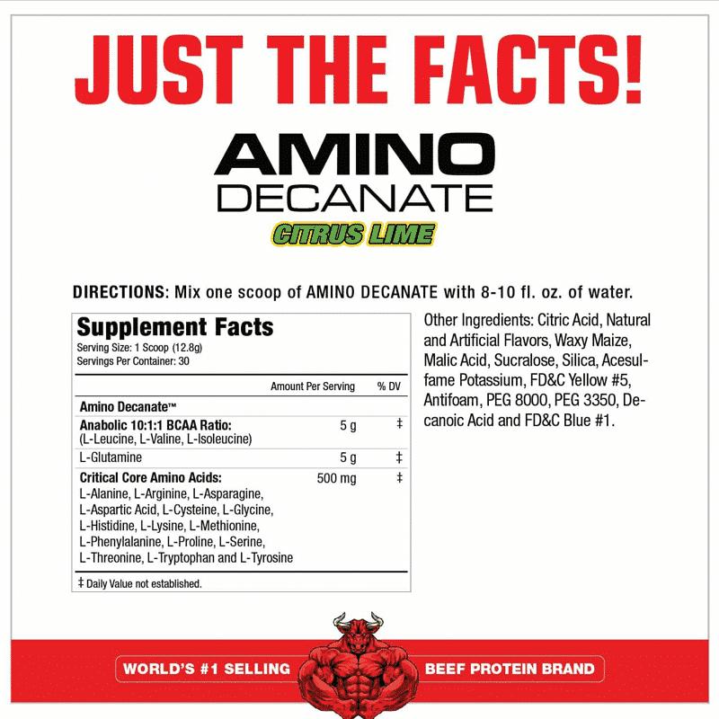 amino decanate citrus lime 360 gramos musclemeds tabla nutricional