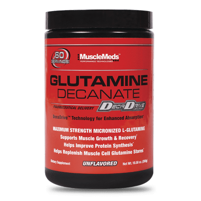 glutamine decanate unflavored 300 gramos musclemeds