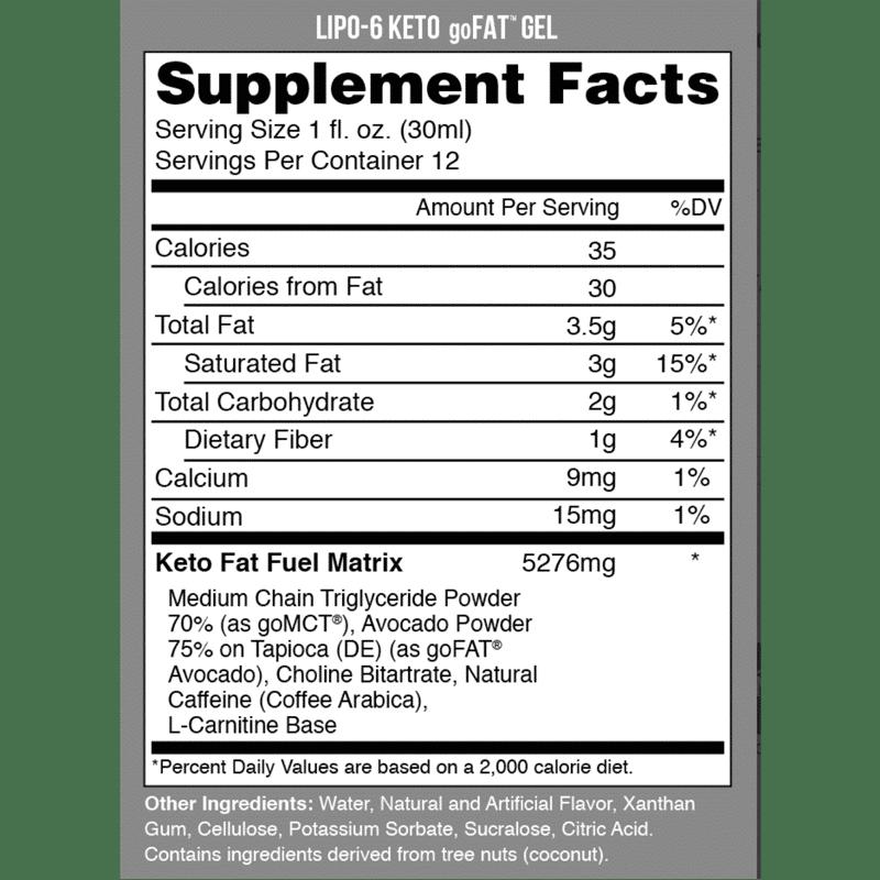 lipo 6 keto go fat gel 30ml nutrex research información nutricional
