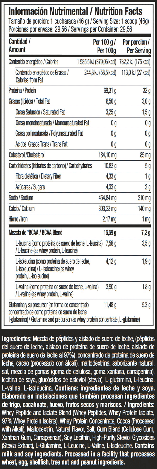 premium 100 whey protein plus isolate deluxe chocolate 3 libras muscletech informacion nutricional