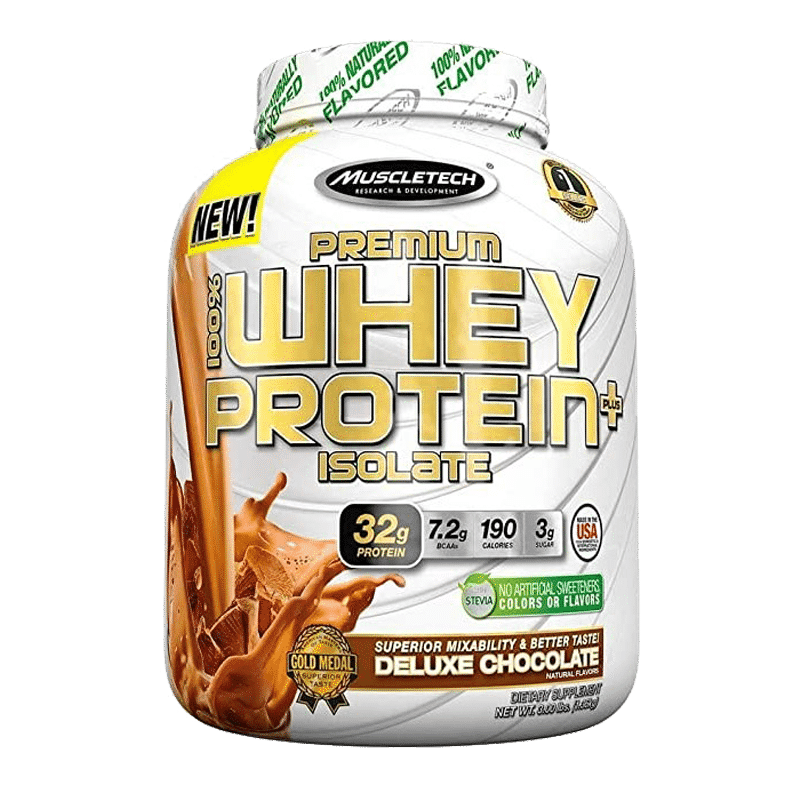 premium 100 whey protein plus isolate deluxe chocolate 3 libras muscletech