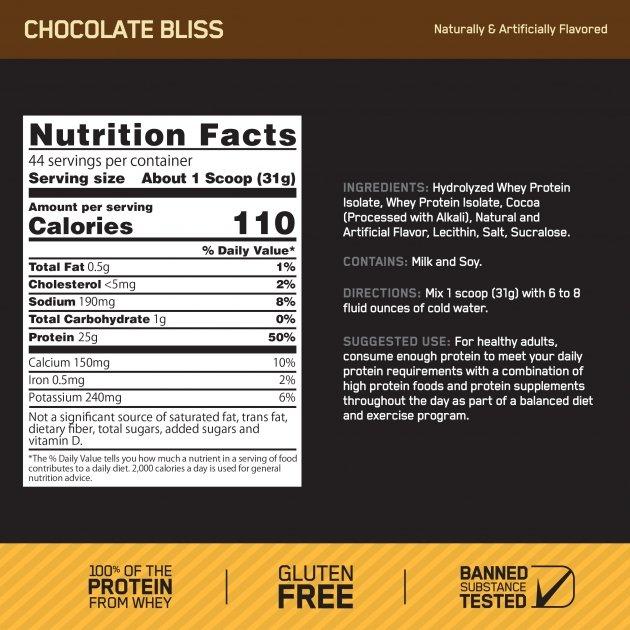 gold standard 100 isolate chocolate bliss 44 porciones optimum nutrition informacion nutricional